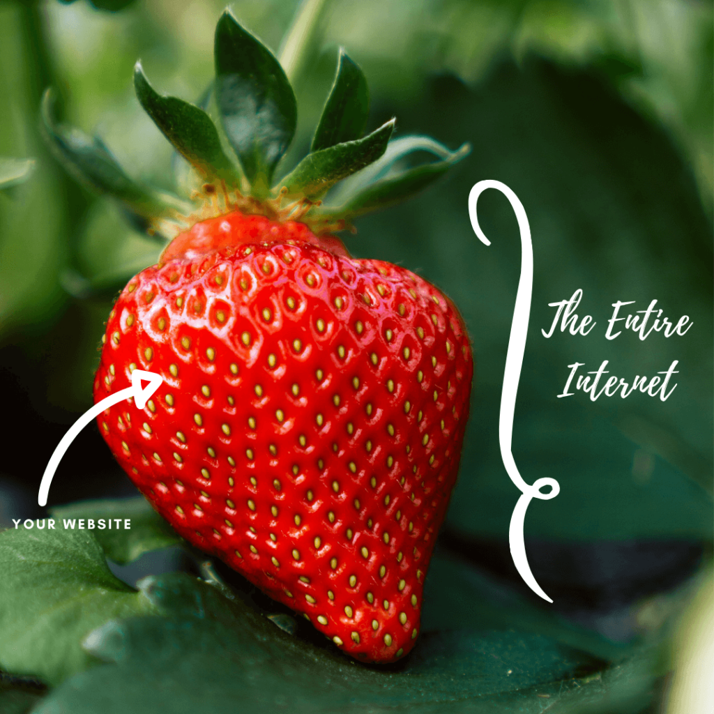 Strawberry with text: The Entire Internet